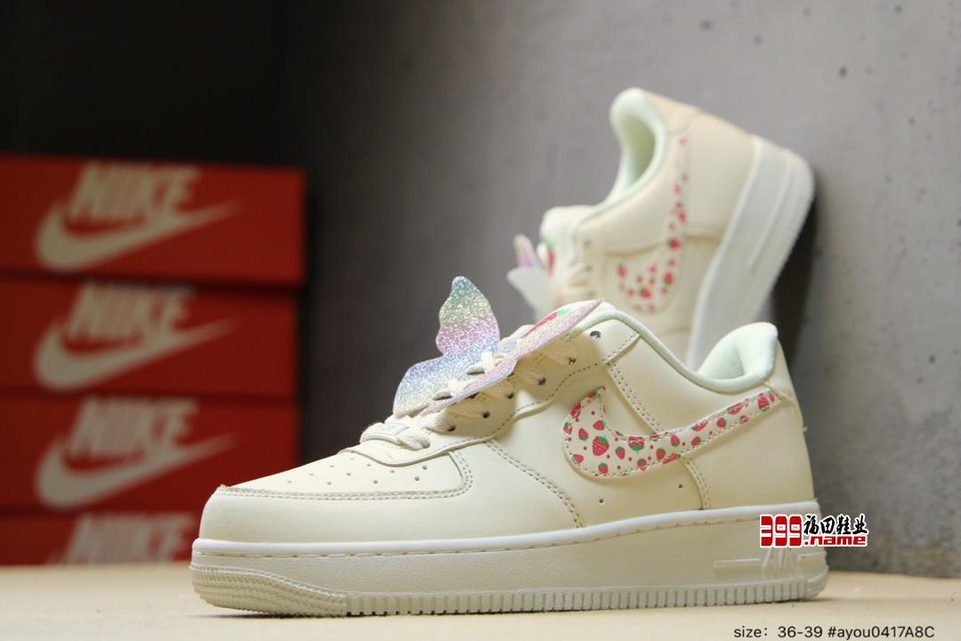"""Air force 1 Butterfly """" 果冻草莓 彩蝶春霓  货号: AH6827-100"""