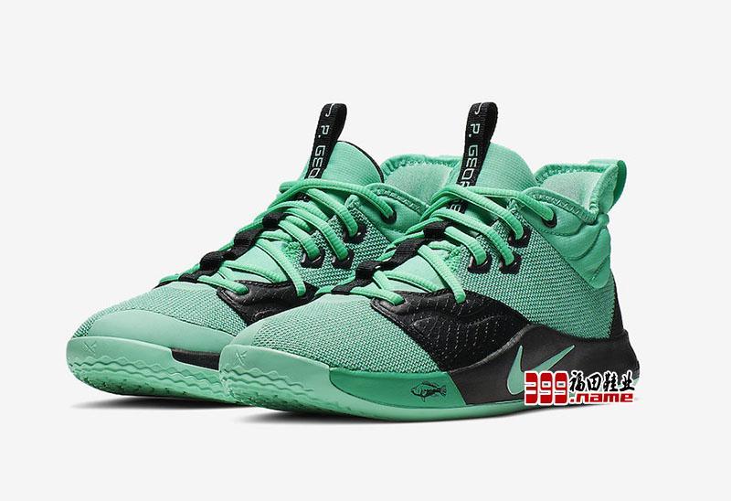 "Nike PG3 GS ""Menta Green"" 保罗3三代签名战靴主题配色,货号: AQ2462-330"
