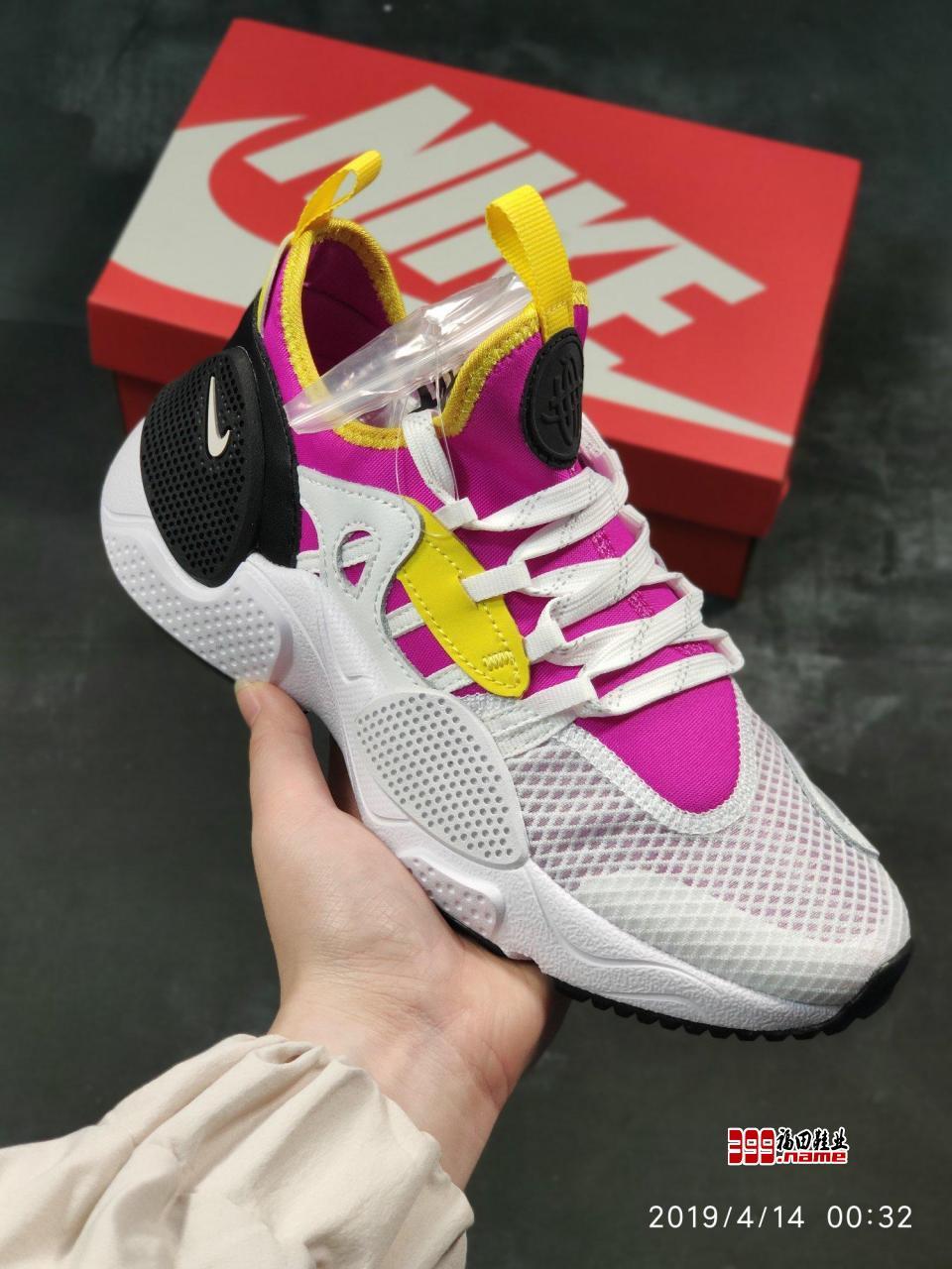 "Nike Huarache E.D.G.E TXT QS  华莱士7代 莱卡弹性内靴套脚休闲运动慢跑鞋""白粉"""