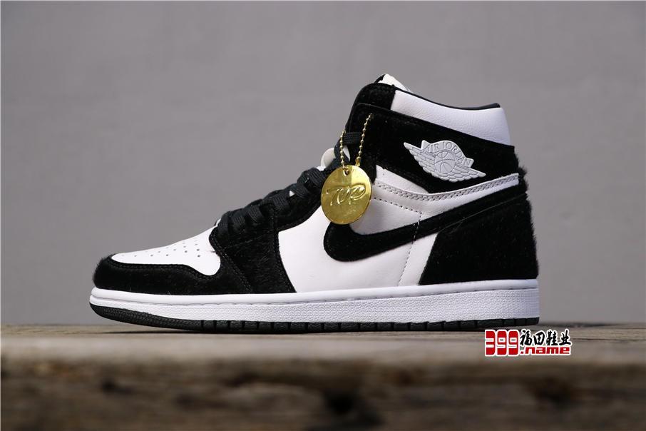 乔丹1代高帮系列 Air Jordan 1Retro High OG WMNS毛皮一体元年熊猫 货号:CD0461-007