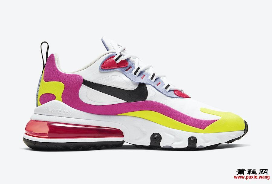 Nike Air Max 270 React White Pink Yellow CZ9351-100发售日期