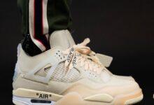 """乔丹4代联名女神款Off-White x Air Jordan 4""""Sail""""精彩上脚图 货号:CV9388-100"""